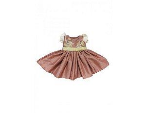 Vestido de Daminha Rosê com Renda - Infantil