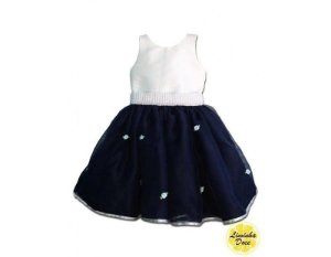 Vestido de Daminha Branco e Azul - Infantil