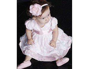 Vestido de Batizado com Renda Branca e Rosa - Infantil