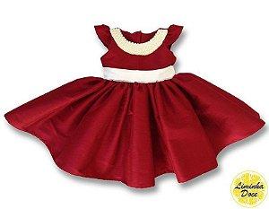 Vestido Social Vinho com Pérolas - Infantil