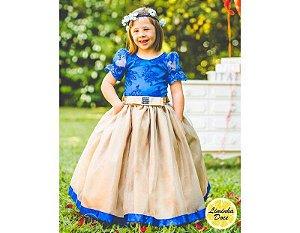 Vestido de Daminha Azul e Dourado - Infantil