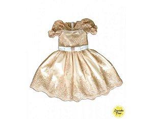 Vestido de Daminha de Luxo Dourado - Infantil