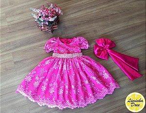 Vestido de Alta Costura Rosa Pink - Infantil