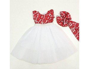 Vestido de Festa Branco com Vermelho - Infantil