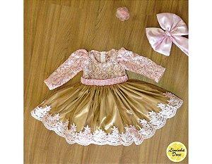 Vestido de Daminha Rose com Dourado  - Infantil