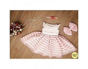 Vestido de Daminha Organza Rosa - Infantil