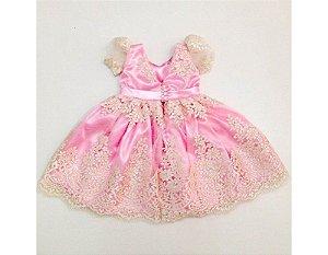 Vestido de Daminha de Luxo Rosa com Flores - Infantil