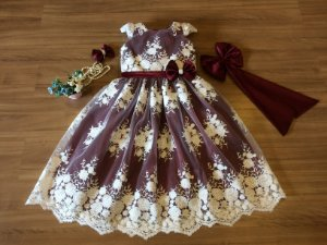 Vestido de Daminha de Luxo Marsala - Infantil