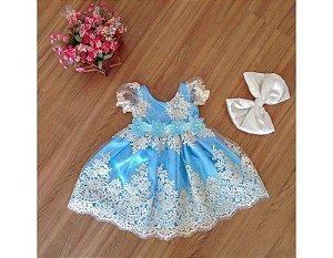 Vestido de Daminha de Luxo Azul - Infantil