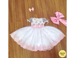 Vestido de Daminha Branco com Tule Bordado - Infantil