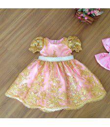 Vestido de Daminha de Luxo Rosa com Dourado - Infantil