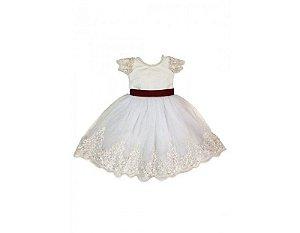 Vestido de Daminha Branco e Marsala com Tule Francês - Infantil
