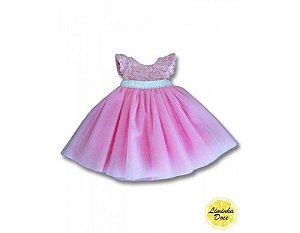 Vestido de Festa Renda Rosa - Infantil