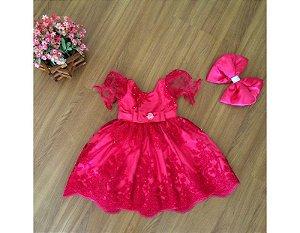 Vestido de Daminha de Luxo Rosa Fechado - Infantil