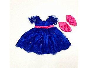 Vestido de Daminha de Luxo Azul com Rosa - Infantil