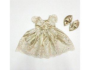 Vestido de Daminha de Luxo Renda Dourado - Infantil