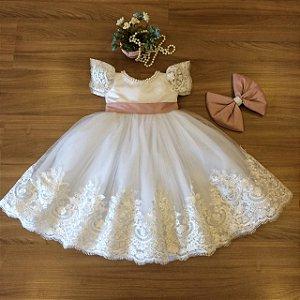 Vestido de Daminhas com Tule Francês - Infantil