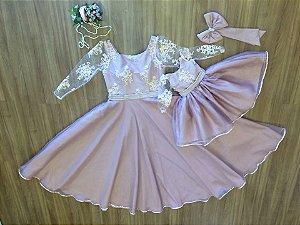 Vestido de Alta Costura Rosê - Mãe e Filha