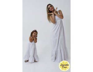 Conjunto Vestido Longo Branco - Tal Mãe Tal Filha