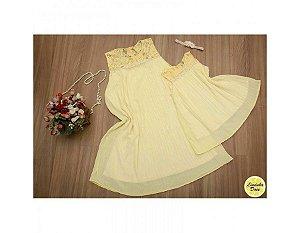 Vestido Plissado Amarelo - Mãe e Filha