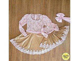 Vestido de Festa Rose com Dourado - Mãe e Filha