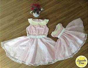 Vestido de Festa Rosa - Mãe e Filha