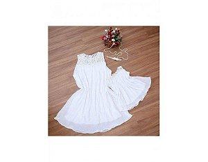 Vestido Plissado Branco - Mãe e Filha