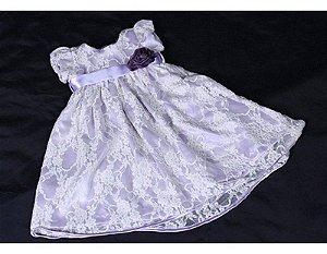 Vestido de Batizado com Renda Branca e Lilás - Infantil