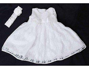 Vestido de Renda Branca para Batizado - Infantil