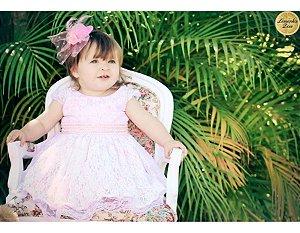 Vestido Branco e Rosa - Batizado Infantil