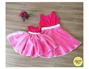 Vestido Social Rosa de Festa - Tal Mãe Tal Filha