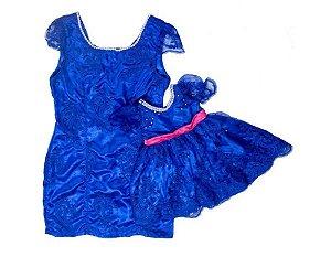 Vestido de Renda Azul - Mãe e Filha