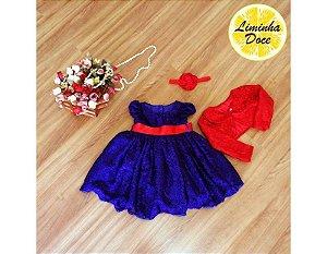 Vestido Azul Royal com Bolero - Infantil