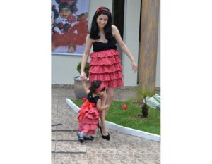 Vestido de Festa Tema da Minnie - Mãe e Filha