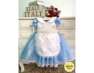 Vestido Alice no País das Maravilhas - Alta Costura Infantil