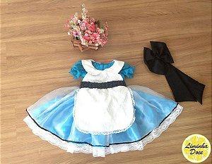 Vestido Alice no País das Maravilhas de Luxo - Infantil