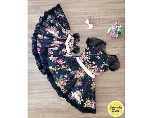 Vestido de Festa Preto Floral - Tal Mãe Tal Filha
