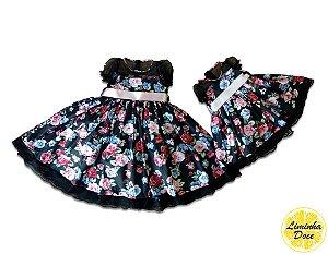 Vestido Preto Floral - Tal Mãe Tal Filha