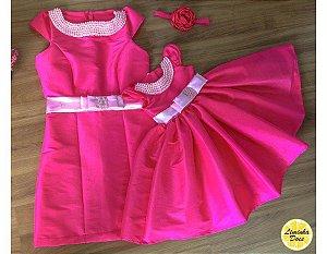 Vestido Rosa Pink com Pérolas - Mãe e Filha
