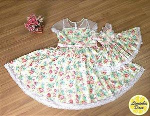 Vestido de Festa Floral - Mãe e Filha