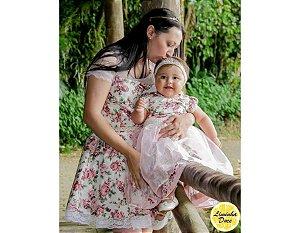 Vestido Rosa Floral - Tal Mãe Tal Filha
