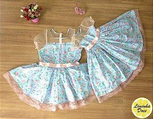 Vestido de Festa Azul Floral - Tal Mãe Tal Filha