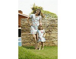Conjunto Floral Azul - Tal Mãe Tal Filha