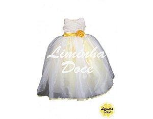 Vestido de Daminha Branco com Amarelo - Infantil
