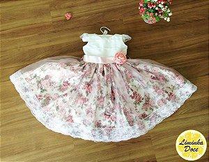 Vestido de Daminha Branco e Floral Rose - Infantil