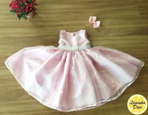 Vestido de Daminha Rosa Claro com Pérolas - Infantil