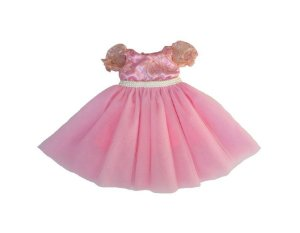 Vestido de Daminha Rosa de Renda Dourada - Infantil