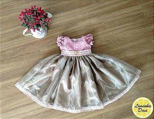 Vestido de Festa Rosa com Dourado - Infantil