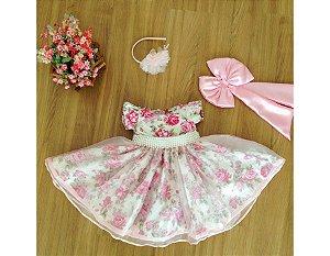 Vestido de Daminha Floral Rosa com Pérolas - Infantil