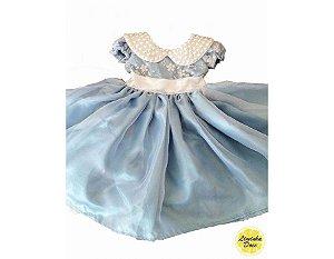Vestido Social Azul com Pérolas - Infantil